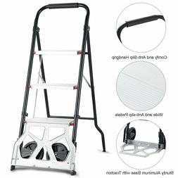 Convertible 2-in-1 3-Step Ladder Hand Truck Trolley Cart Fol