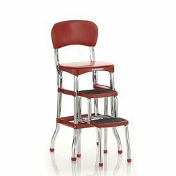 Cosco 11120RED1E Retro Counter Chair/Step Stool, Sliding, Re