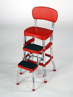 Cosco Red Retro Counter Chair Step Stool Folding Kitchen Bar