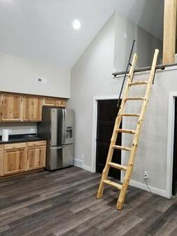 Custom Rustic Pine Loft Library Ladder half-Log,Cabin,Attic,