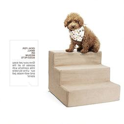 Delxo High Density Foam 3 Tier Pet Stairs,Comfy Micro Suede