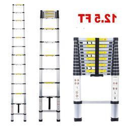 EN131 12.5FT Telescopic Extension Aluminum Step Ladder Foldi