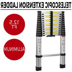 New 12.5FT Telescopic Extension Aluminum Step Ladder Folding