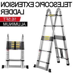 EN131 12.5FT Telescopic Extension Aluminum Step Ladder Foldi