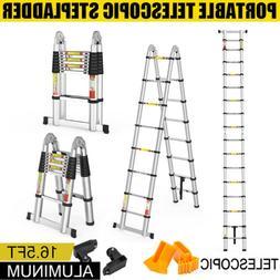 Folding 16.4FT Rolling Telescopic Extension Ladder Aluminum