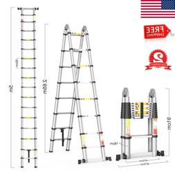 Folding 16.4FT Telescopic Extension Ladder Aluminum Heavy Du