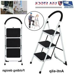 Folding 3/2/1 Steps Ladder Step Stool 330 lbs Capacity Load