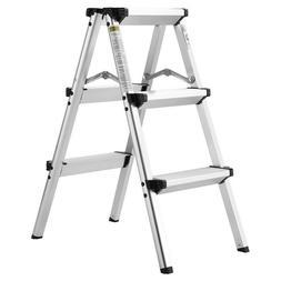 folding 3 step aluminum ladder 300lb capacity