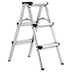 Finether Folding 3 Step Aluminum Ladder 300lb Capacity, Port