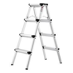 Finether Folding 4 Step Aluminum Ladder 300lb Capacity, Port