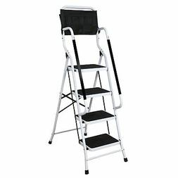 Folding 4-Step Safety Ladder - Padded Side Handrails - With