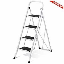 Delxo Folding 4 Step Ladder Ladder w/Convenient Handgrip Ant
