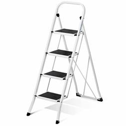 Delxo Folding 4 Step Ladder Ladder with Convenient Handgrip