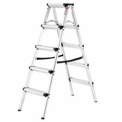 Finether Folding 5-Step Stool Aluminum Double Sided Step Lad