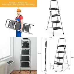 Delxo Folding Steel 3-Step Stool Ladder Tool Equipment For I