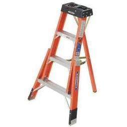 WERNER FTP6204 Tripod Step Ladder, Fiberglass, 4 ft, 300 lb,