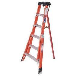 WERNER FTP6206 Tripod Step Ladder, Fiberglass, 6 ft, 300 lb,