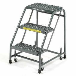 """Grip 16""""W 3 Step Steel Rolling Ladder 10""""D Top Step  - 1 Eac"""
