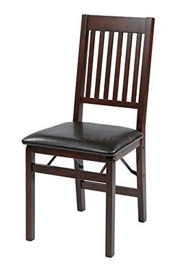 Office Star Hacienda Wood and Veneer Folding Chair with Padd