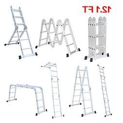 Finether 12.1 ft Folding Ladder Heavy Duty Multi Purpose Ste