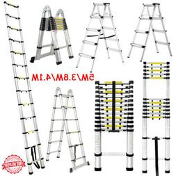 Heavy Duty Aluminum Telescoping Ladder Folding Extension Ste