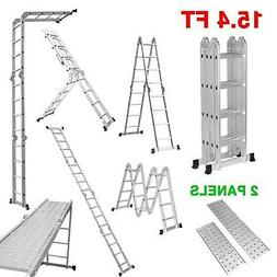 Finether 15.4ft Extension Ladder|Aluminum Ladder| Multi-Purp