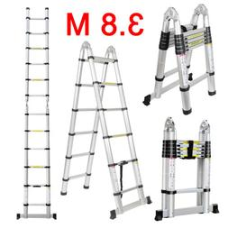 3.8M Aluminum Telescoping Telescopic Extension Ladder Multi