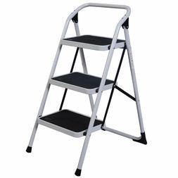 Home Use 3-Step Short Handrail Iron Ladder Black & White
