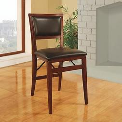 Superb Espresso Wood Folding Chair With Vinyl Seat Ladder Back Camellatalisay Diy Chair Ideas Camellatalisaycom