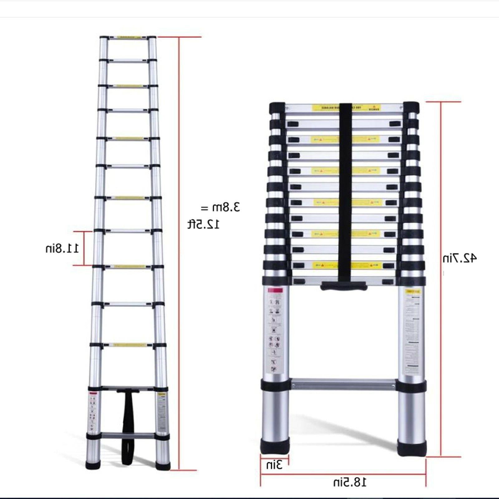 10.5FT Aluminum Telescopic Ladder Loft Tall EN131