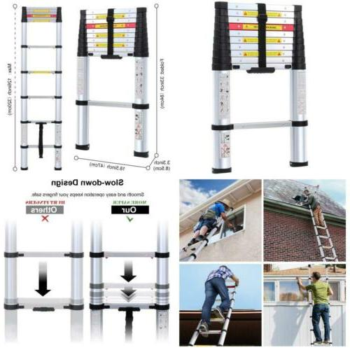 10.5Ft En131 Aluminum Telescoping Ladder With One-Button Ret