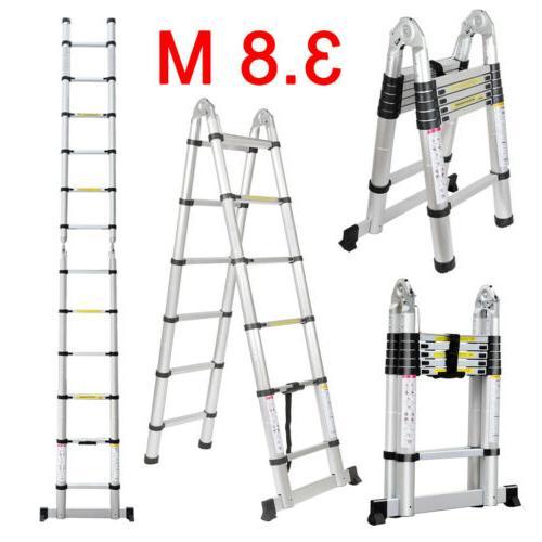 12.5Ft Folding Telescopic Ladder A-Frame Step MultiPurpose E