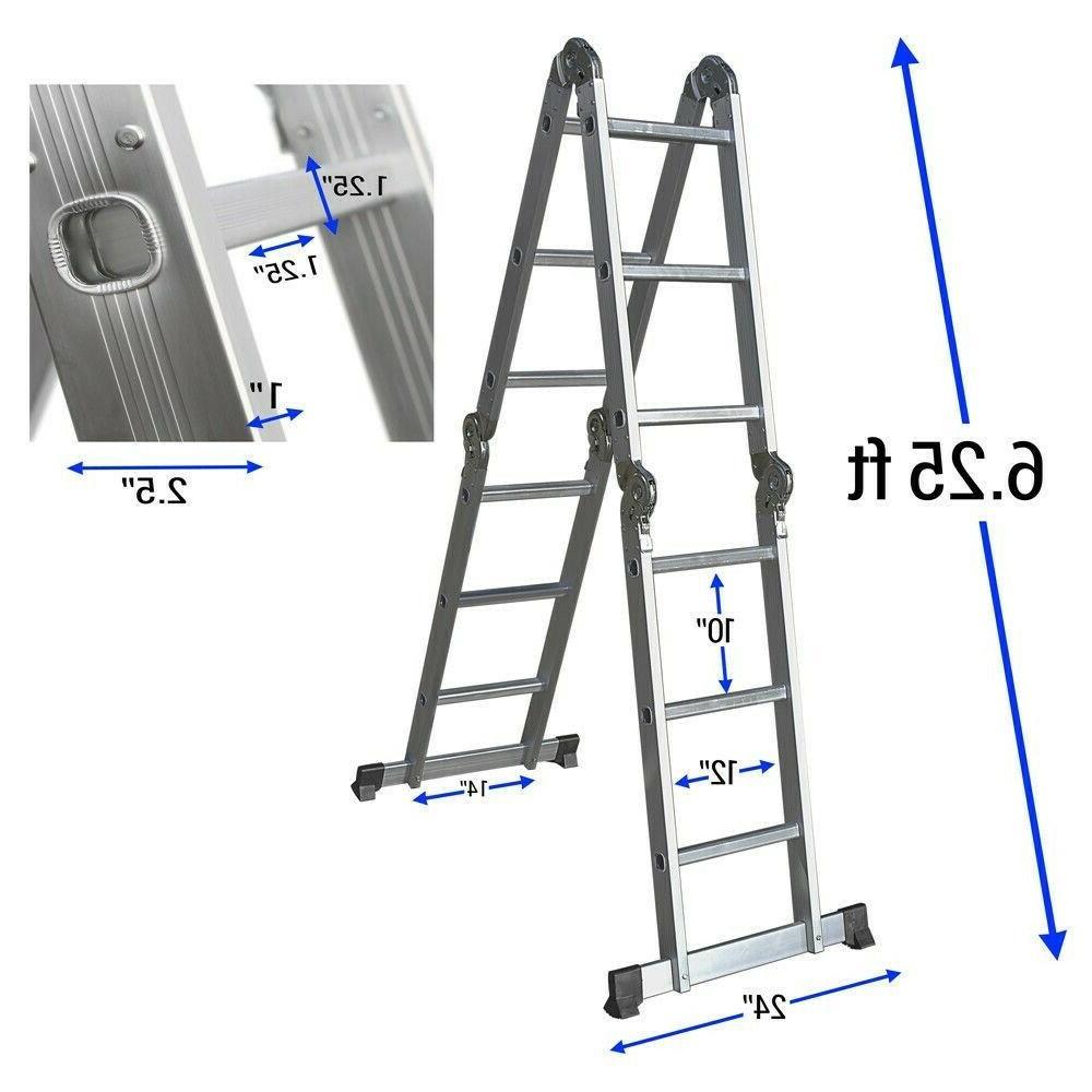 12.5FT 330LB Multi Purpose Aluminum Folding Scaffold Ladder