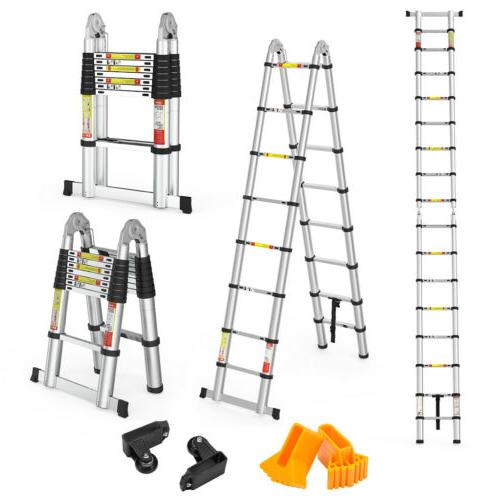 16.4FT Folding Multi Purpose Telescopic Extension Ladder Hea