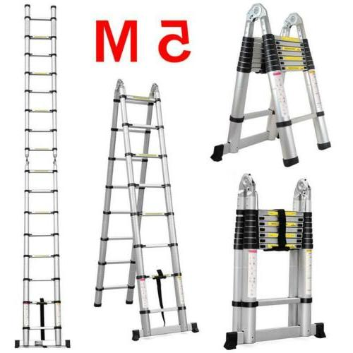 16.4ft 330Lb Multi Purpose Aluminum Folding Extension Ladder