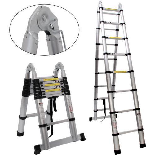 16.5FT Aluminium Ladders Telescoping Multi-Purpose Step Ladder