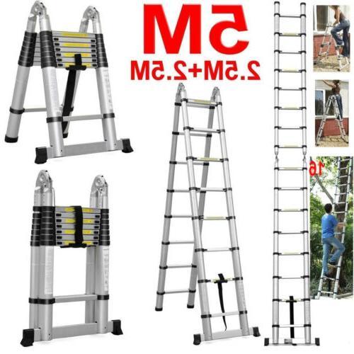 5M Aluminum Compact Folding Telescoping Ladder 16 EN131
