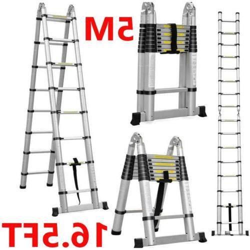 16 5ft aluminum telescopic extension ladder extendable