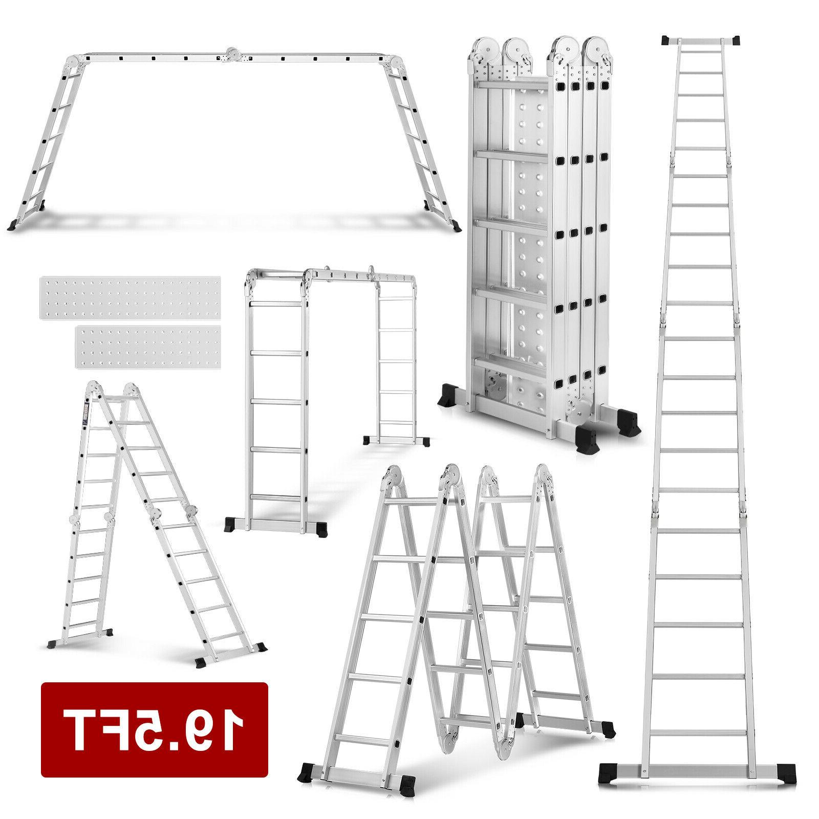 19.5FT Multi Purpose Extension Folding Aluminum Ladder Step