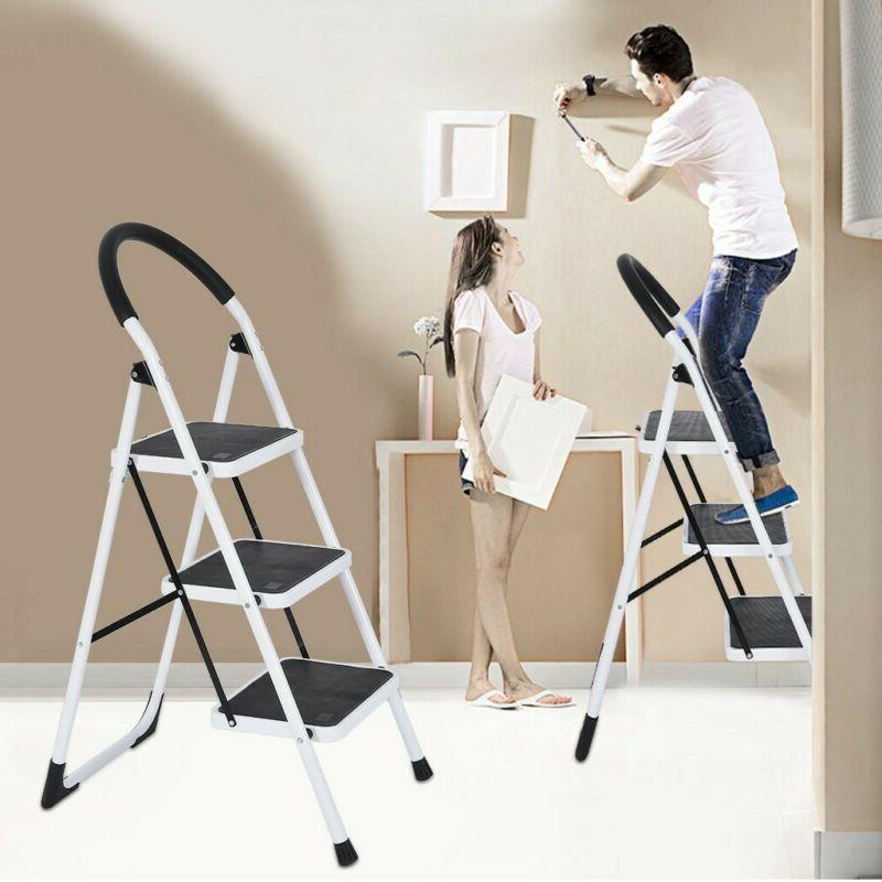 2/3 Step Ladder Folding Step Stool Steel Ladder W/ Handle An
