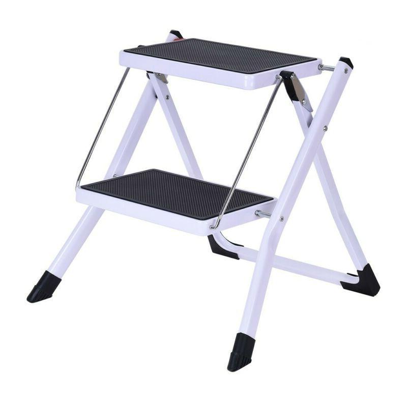 2 Step Folding Non-Slip Aluminum Lightweight Ladder  Platfor