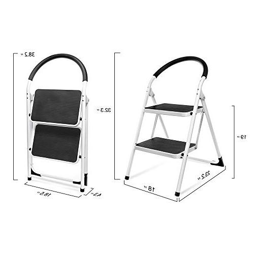 Delxo Folding Stool Stepladders Handgrip Sturdy Steel Ladder 330lbs White and Black Combo
