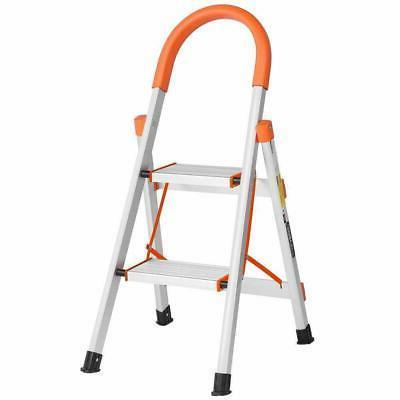 2 Step Ladder Aluminum Lightweight  Folding Home Ladder Fold