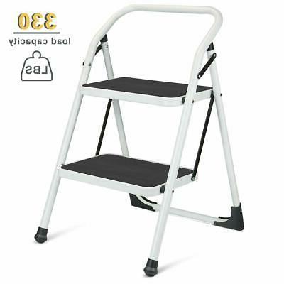 2 Step Ladder Portable Folding Step Stool with Handgrip Anti