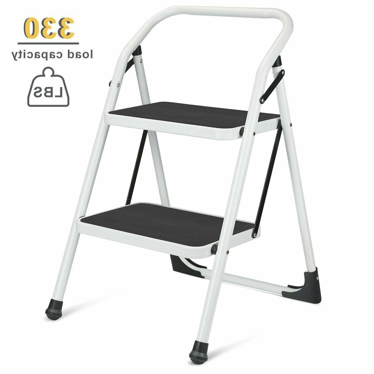 Delxo 2 Step Ladder Portable Step Stool Handgrip Anti-Slip W