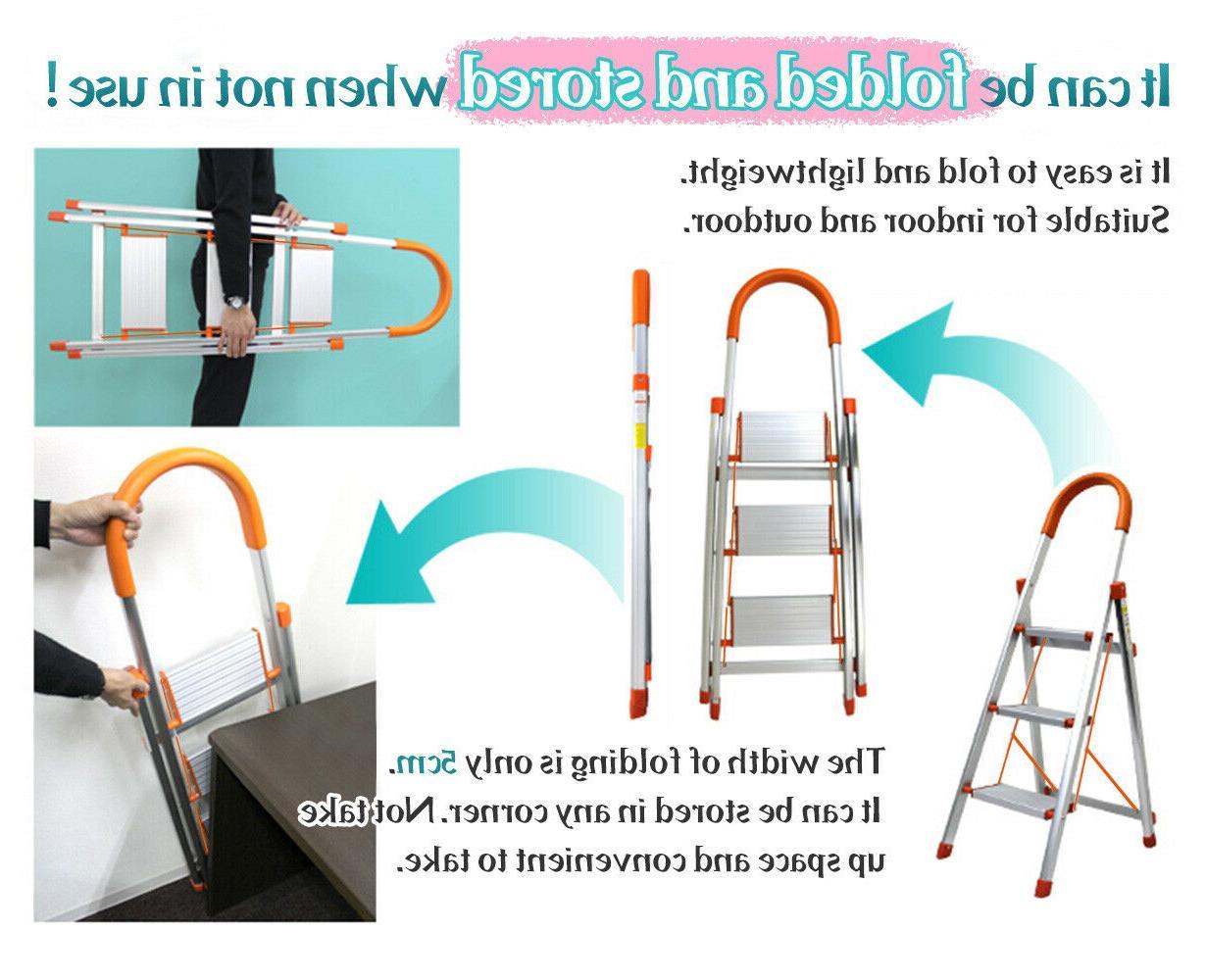 3/4/5 Step Duty Folding Stool Non-slip Aluminum