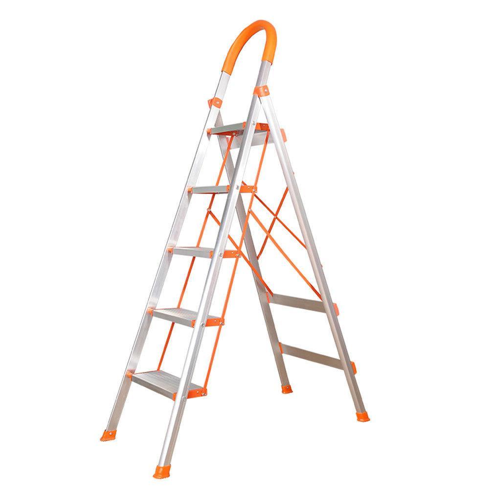 3/4/5 Step Ladder Duty Folding Stepladder Stool Non-slip