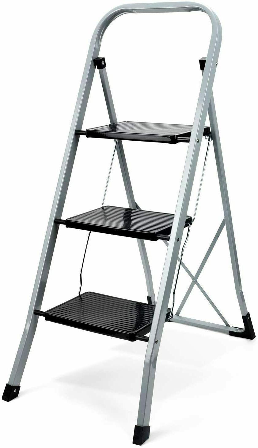 3 & 4 Step Ladder Folding Step Stool w/ Handgrip & Wide Peda