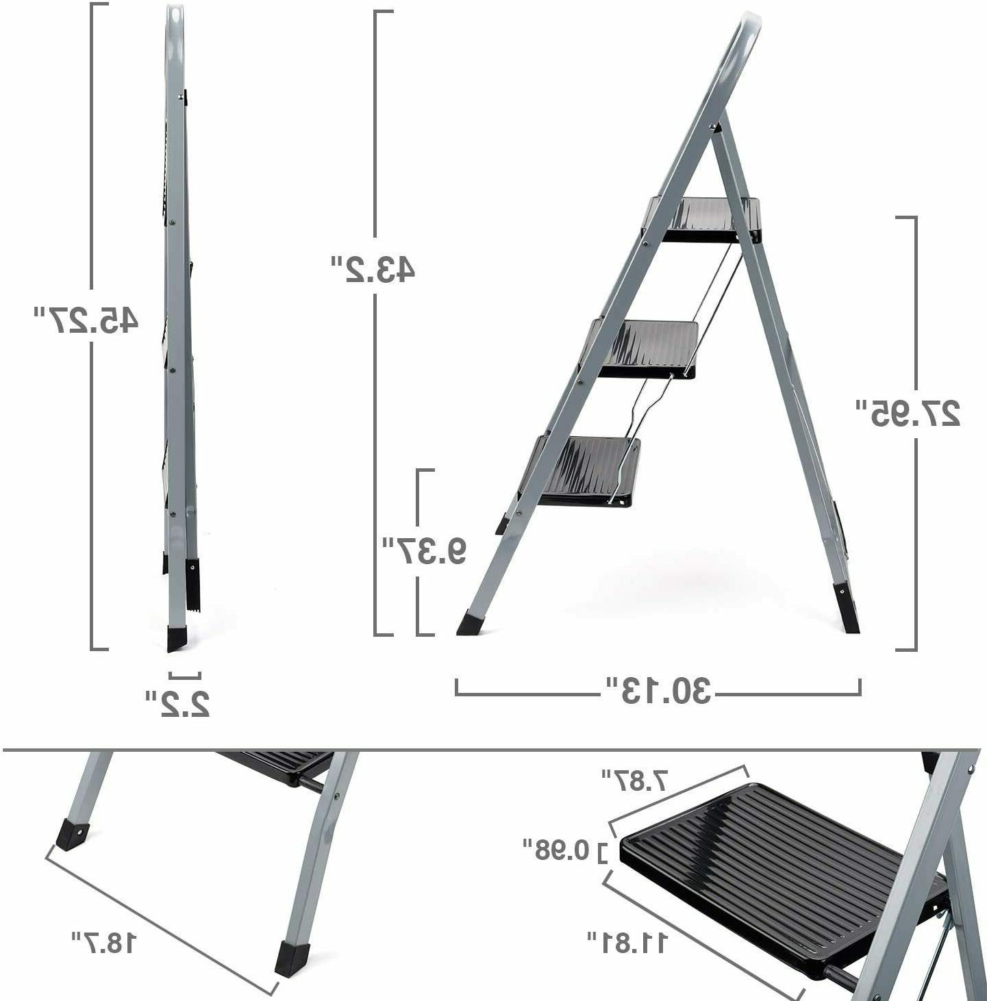3 Step Ladder Folding w/ Pedal - 300lb Capacity