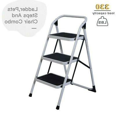 3 Step 330 lbs Ladder Folding Non Slip Safety Tread Heavy Du